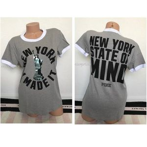 VS Pink NY I Made It State Of Mind Ringer Crew Tee